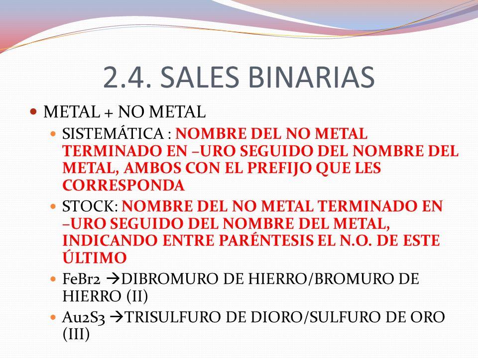 2.4. SALES BINARIAS METAL + NO METAL SISTEMÁTICA : NOMBRE DEL NO METAL TERMINADO EN –URO SEGUIDO DEL NOMBRE DEL METAL, AMBOS CON EL PREFIJO QUE LES CO