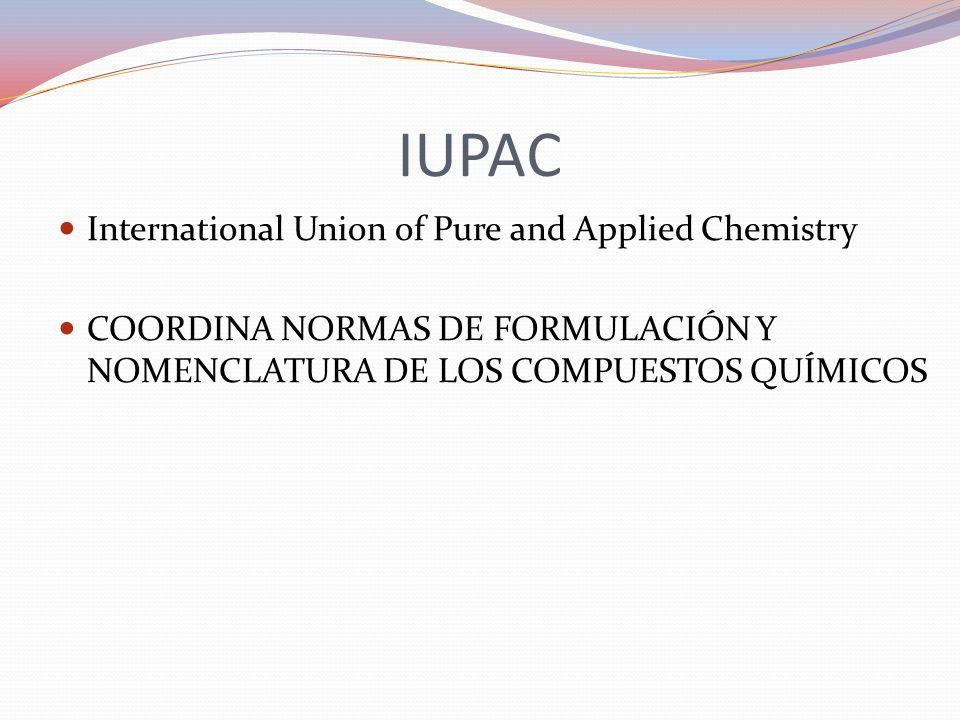 IUPAC International Union of Pure and Applied Chemistry COORDINA NORMAS DE FORMULACIÓN Y NOMENCLATURA DE LOS COMPUESTOS QUÍMICOS