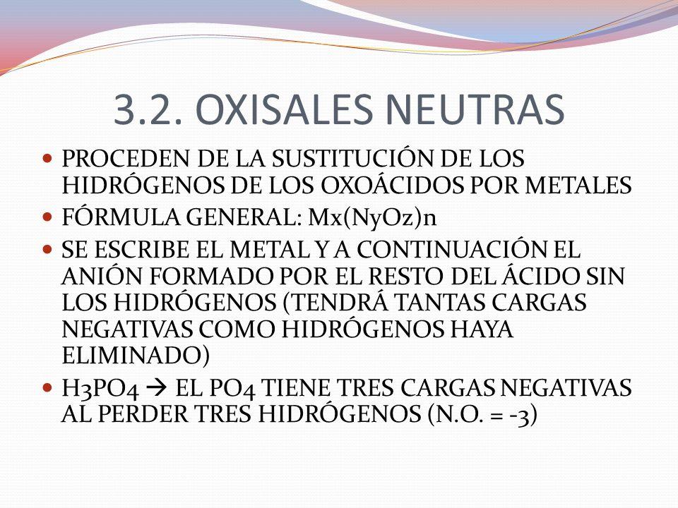 3.2. OXISALES NEUTRAS PROCEDEN DE LA SUSTITUCIÓN DE LOS HIDRÓGENOS DE LOS OXOÁCIDOS POR METALES FÓRMULA GENERAL: Mx(NyOz)n SE ESCRIBE EL METAL Y A CON