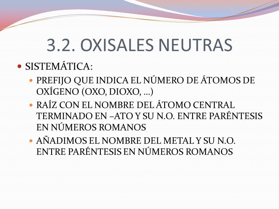 3.2. OXISALES NEUTRAS SISTEMÁTICA: PREFIJO QUE INDICA EL NÚMERO DE ÁTOMOS DE OXÍGENO (OXO, DIOXO, …) RAÍZ CON EL NOMBRE DEL ÁTOMO CENTRAL TERMINADO EN