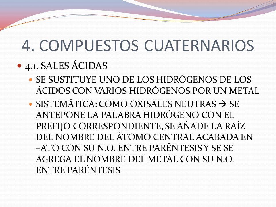 4. COMPUESTOS CUATERNARIOS 4.1. SALES ÁCIDAS SE SUSTITUYE UNO DE LOS HIDRÓGENOS DE LOS ÁCIDOS CON VARIOS HIDRÓGENOS POR UN METAL SISTEMÁTICA: COMO OXI