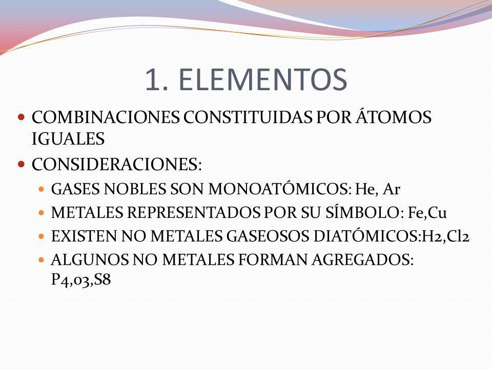1. ELEMENTOS COMBINACIONES CONSTITUIDAS POR ÁTOMOS IGUALES CONSIDERACIONES: GASES NOBLES SON MONOATÓMICOS: He, Ar METALES REPRESENTADOS POR SU SÍMBOLO