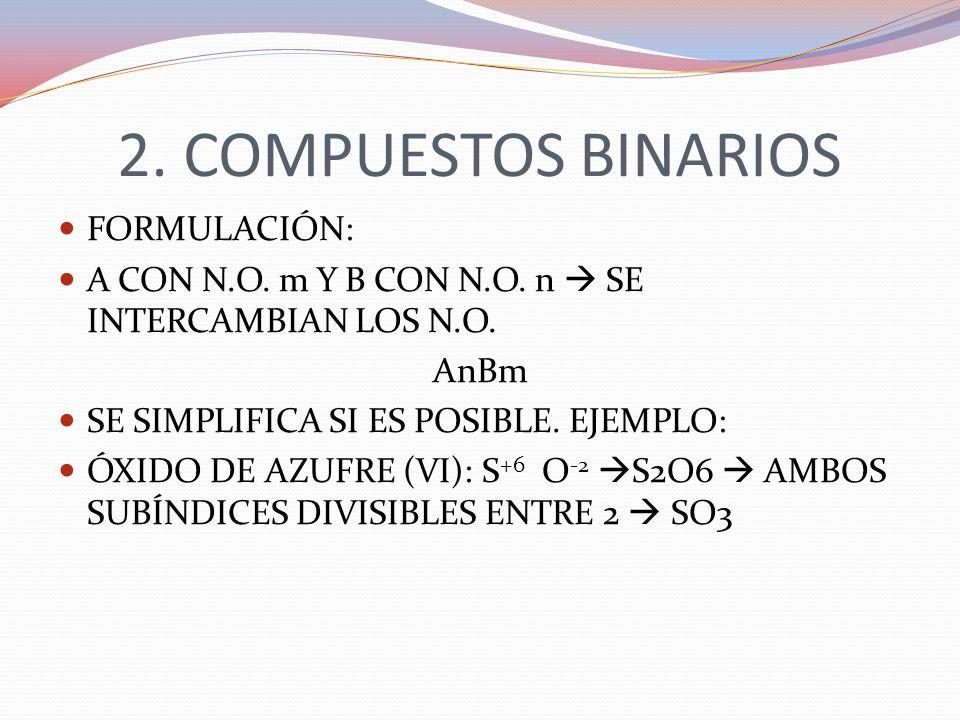 2. COMPUESTOS BINARIOS FORMULACIÓN: A CON N.O. m Y B CON N.O. n SE INTERCAMBIAN LOS N.O. AnBm SE SIMPLIFICA SI ES POSIBLE. EJEMPLO: ÓXIDO DE AZUFRE (V