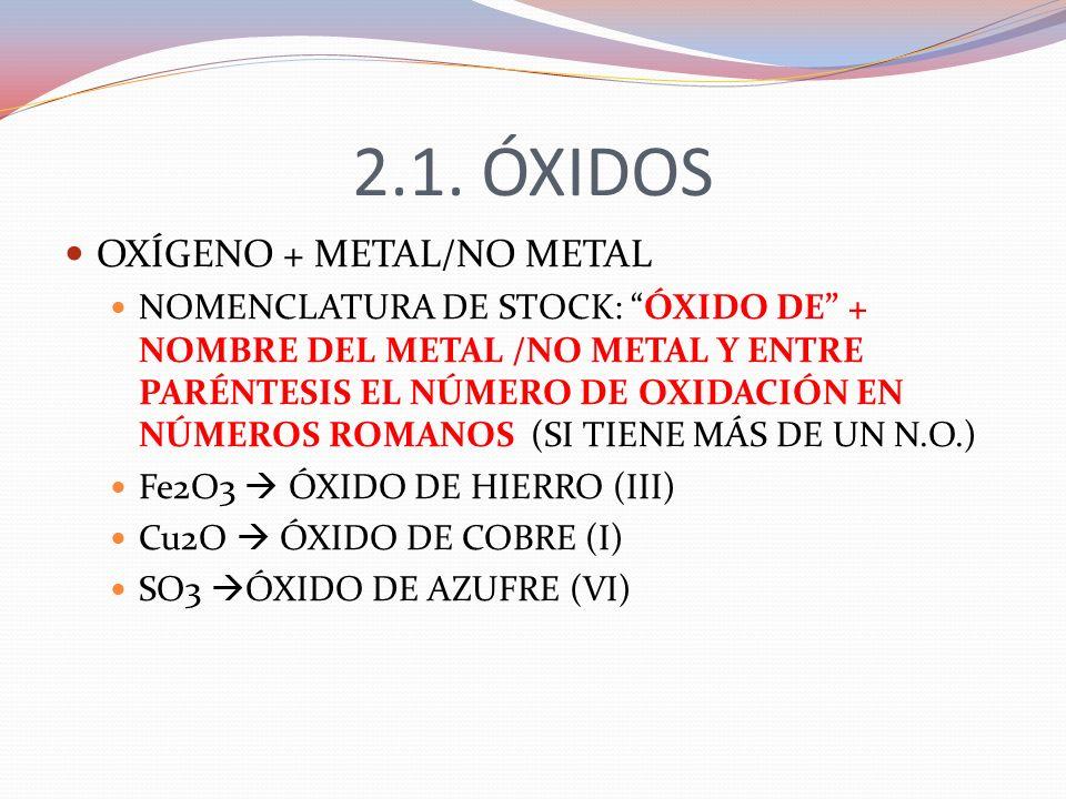2.1. ÓXIDOS OXÍGENO + METAL/NO METAL NOMENCLATURA DE STOCK: ÓXIDO DE + NOMBRE DEL METAL /NO METAL Y ENTRE PARÉNTESIS EL NÚMERO DE OXIDACIÓN EN NÚMEROS
