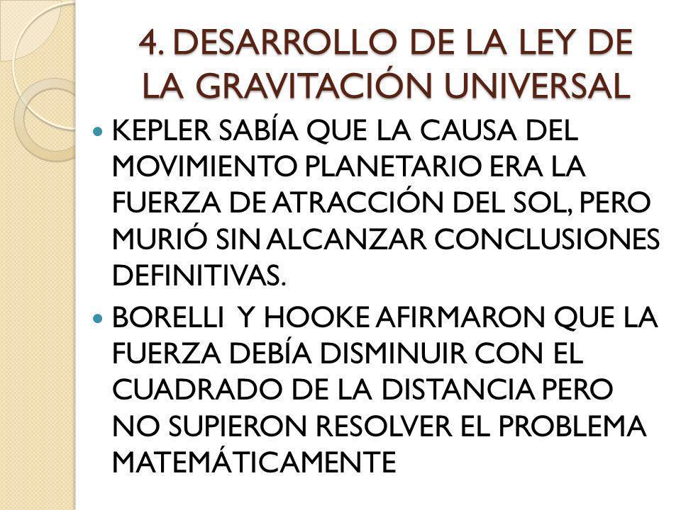 4. DESARROLLO DE LA LEY DE LA GRAVITACIÓN UNIVERSAL KEPLER SABÍA QUE LA CAUSA DEL MOVIMIENTO PLANETARIO ERA LA FUERZA DE ATRACCIÓN DEL SOL, PERO MURIÓ