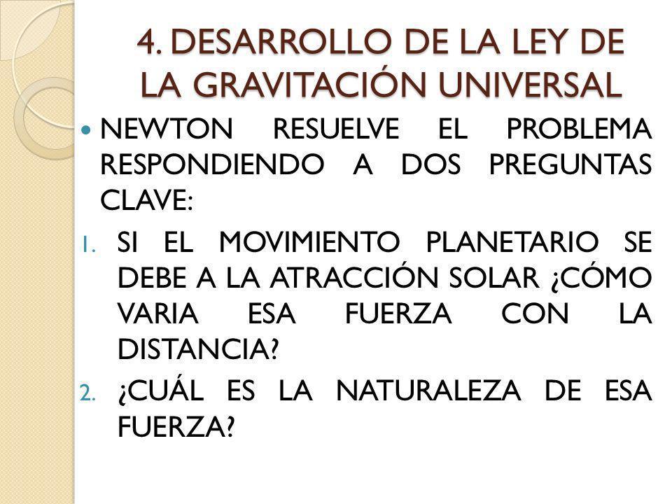 4. DESARROLLO DE LA LEY DE LA GRAVITACIÓN UNIVERSAL NEWTON RESUELVE EL PROBLEMA RESPONDIENDO A DOS PREGUNTAS CLAVE: 1. SI EL MOVIMIENTO PLANETARIO SE