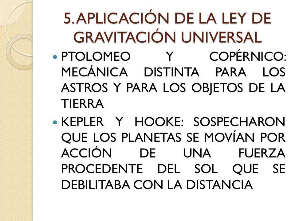 5. APLICACIÓN DE LA LEY DE GRAVITACIÓN UNIVERSAL PTOLOMEO Y COPÉRNICO: MECÁNICA DISTINTA PARA LOS ASTROS Y PARA LOS OBJETOS DE LA TIERRA KEPLER Y HOOK