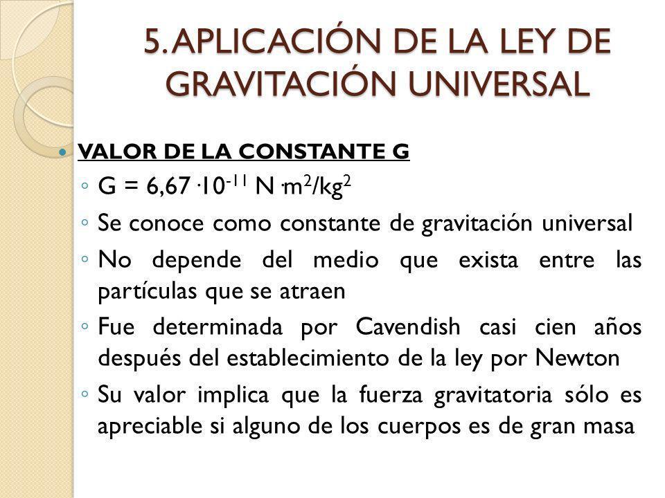 5. APLICACIÓN DE LA LEY DE GRAVITACIÓN UNIVERSAL VALOR DE LA CONSTANTE G G = 6,67·10 -11 N·m 2 /kg 2 Se conoce como constante de gravitación universal