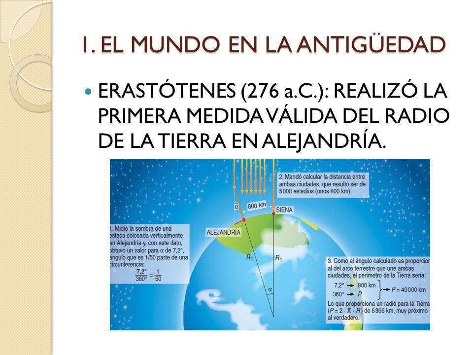 1. EL MUNDO EN LA ANTIGÜEDAD ERASTÓTENES (276 a.C.): REALIZÓ LA PRIMERA MEDIDA VÁLIDA DEL RADIO DE LA TIERRA EN ALEJANDRÍA.