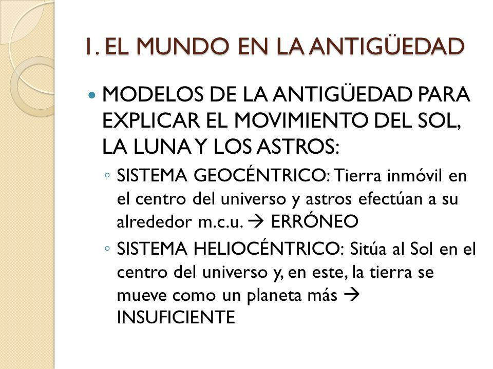 1. EL MUNDO EN LA ANTIGÜEDAD MODELOS DE LA ANTIGÜEDAD PARA EXPLICAR EL MOVIMIENTO DEL SOL, LA LUNA Y LOS ASTROS: SISTEMA GEOCÉNTRICO: Tierra inmóvil e