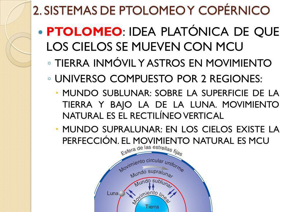 2. SISTEMAS DE PTOLOMEO Y COPÉRNICO PTOLOMEO: IDEA PLATÓNICA DE QUE LOS CIELOS SE MUEVEN CON MCU TIERRA INMÓVIL Y ASTROS EN MOVIMIENTO UNIVERSO COMPUE