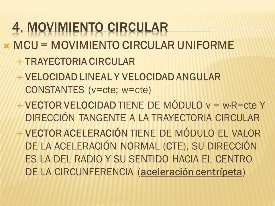 MCU = MOVIMIENTO CIRCULAR UNIFORME TRAYECTORIA CIRCULAR VELOCIDAD LINEAL Y VELOCIDAD ANGULAR CONSTANTES (v=cte; w=cte) VECTOR VELOCIDAD TIENE DE MÓDUL