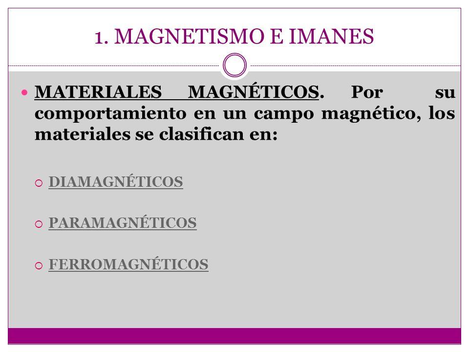 1. MAGNETISMO E IMANES MATERIALES MAGNÉTICOS. Por su comportamiento en un campo magnético, los materiales se clasifican en: DIAMAGNÉTICOS PARAMAGNÉTIC