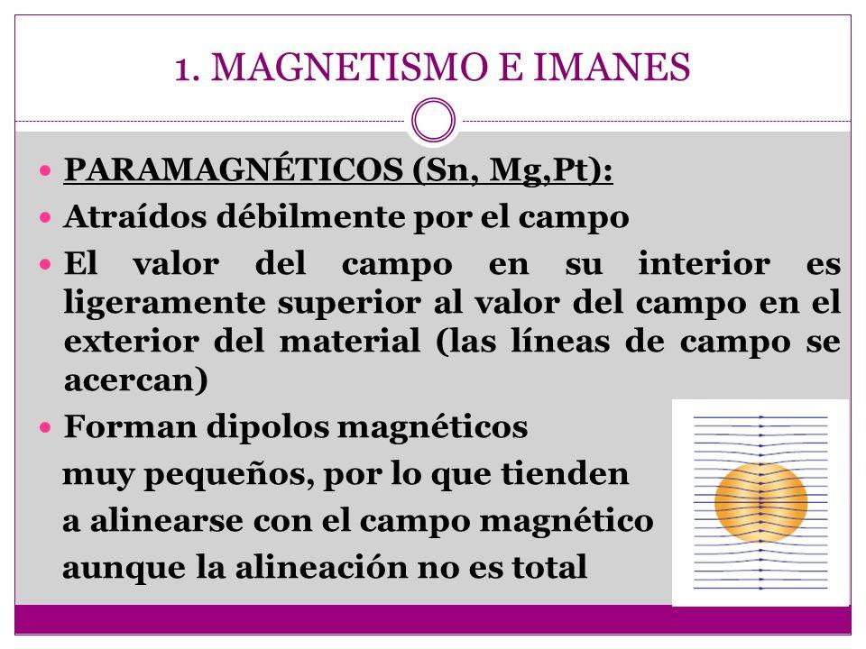 1. MAGNETISMO E IMANES PARAMAGNÉTICOS (Sn, Mg,Pt): Atraídos débilmente por el campo El valor del campo en su interior es ligeramente superior al valor