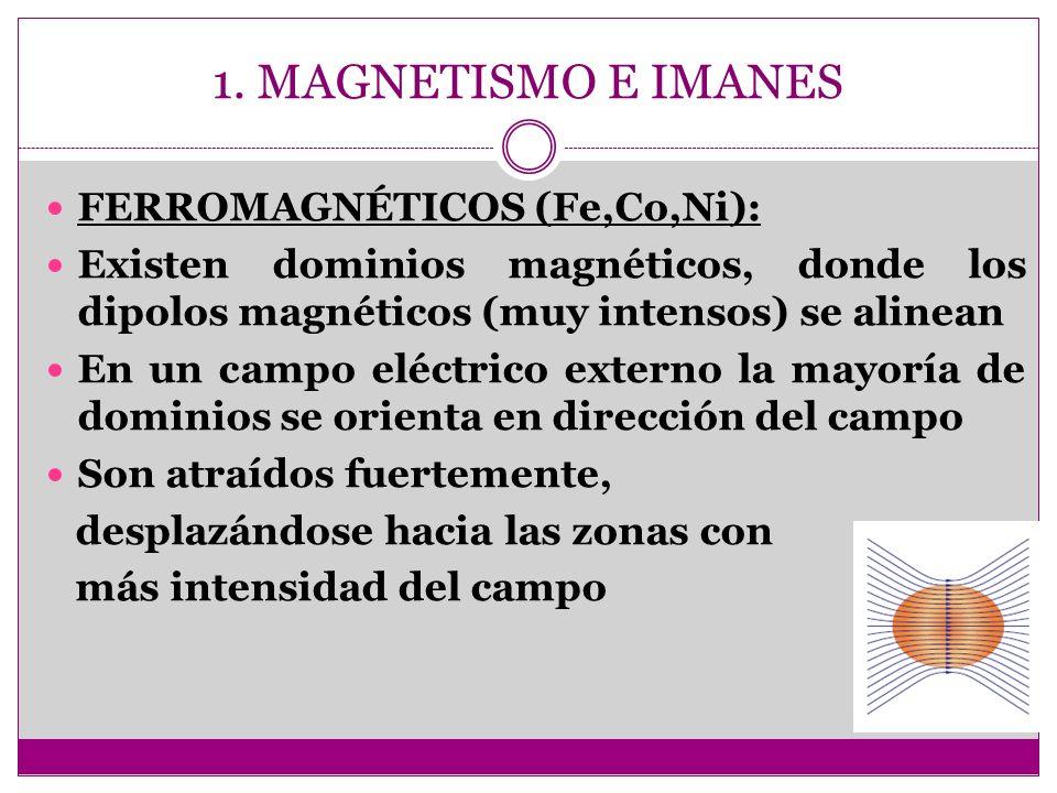 1. MAGNETISMO E IMANES FERROMAGNÉTICOS (Fe,Co,Ni): Existen dominios magnéticos, donde los dipolos magnéticos (muy intensos) se alinean En un campo elé