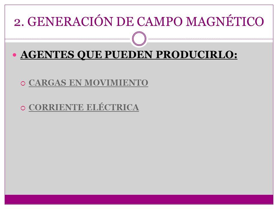 2. GENERACIÓN DE CAMPO MAGNÉTICO AGENTES QUE PUEDEN PRODUCIRLO: CARGAS EN MOVIMIENTO CORRIENTE ELÉCTRICA