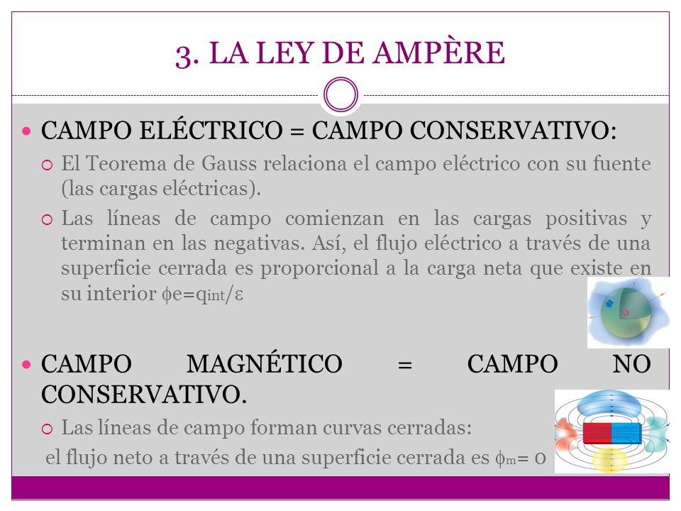 3. LA LEY DE AMPÈRE CAMPO ELÉCTRICO = CAMPO CONSERVATIVO: El Teorema de Gauss relaciona el campo eléctrico con su fuente (las cargas eléctricas). Las
