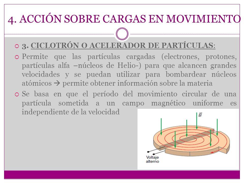 4. ACCIÓN SOBRE CARGAS EN MOVIMIENTO 3. CICLOTRÓN O ACELERADOR DE PARTÍCULAS: Permite que las partículas cargadas (electrones, protones, partículas al