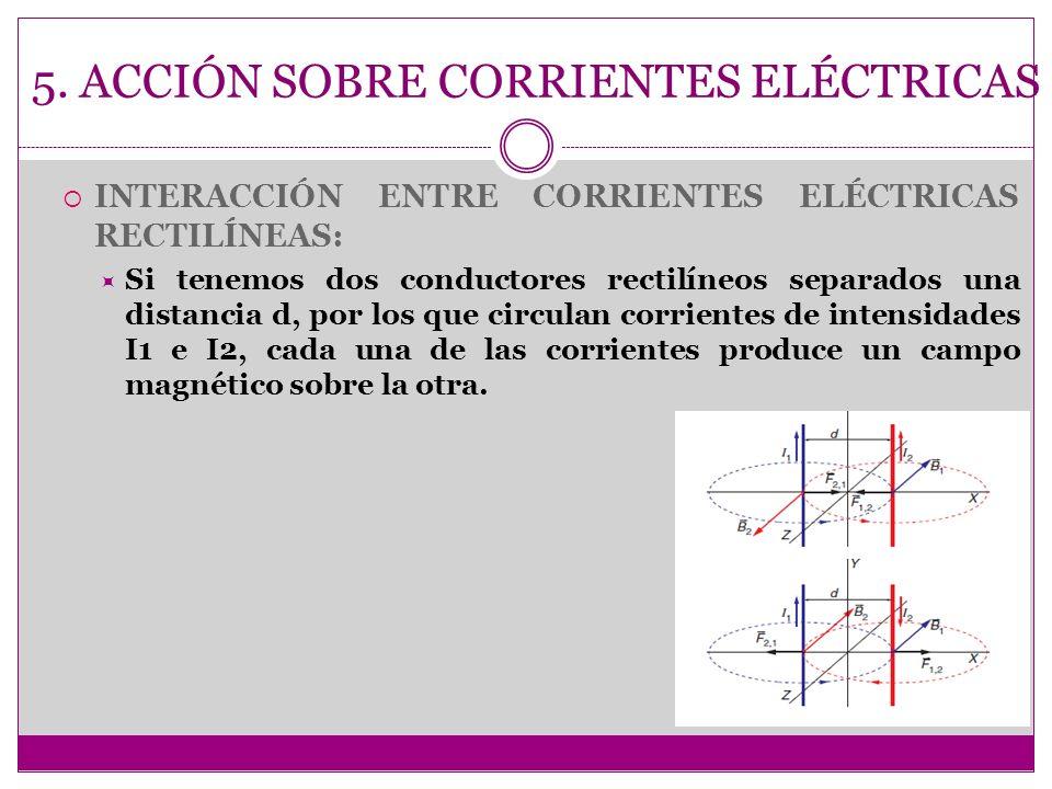 5. ACCIÓN SOBRE CORRIENTES ELÉCTRICAS INTERACCIÓN ENTRE CORRIENTES ELÉCTRICAS RECTILÍNEAS: Si tenemos dos conductores rectilíneos separados una distan