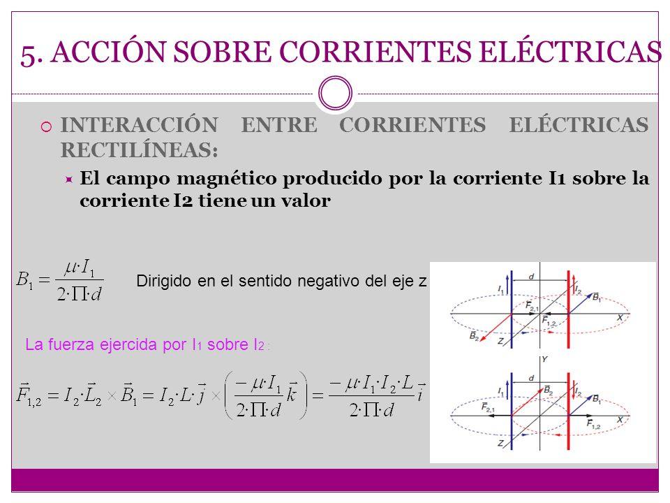 5. ACCIÓN SOBRE CORRIENTES ELÉCTRICAS INTERACCIÓN ENTRE CORRIENTES ELÉCTRICAS RECTILÍNEAS: El campo magnético producido por la corriente I1 sobre la c