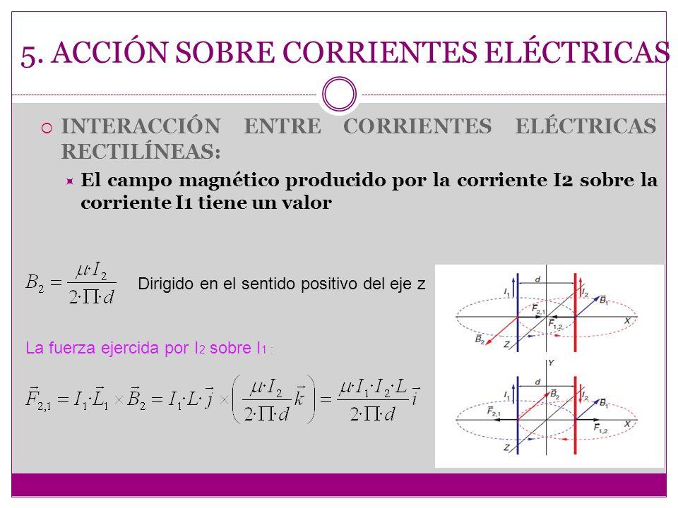 5. ACCIÓN SOBRE CORRIENTES ELÉCTRICAS INTERACCIÓN ENTRE CORRIENTES ELÉCTRICAS RECTILÍNEAS: El campo magnético producido por la corriente I2 sobre la c