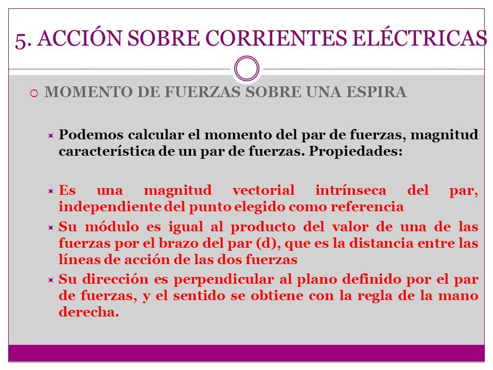5. ACCIÓN SOBRE CORRIENTES ELÉCTRICAS MOMENTO DE FUERZAS SOBRE UNA ESPIRA Podemos calcular el momento del par de fuerzas, magnitud característica de u
