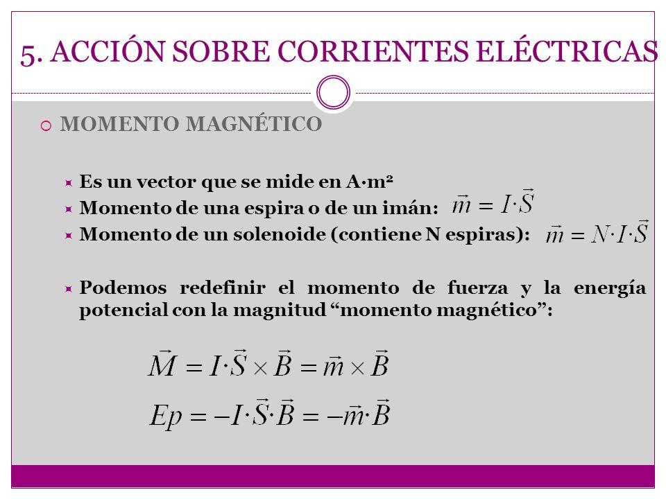 5. ACCIÓN SOBRE CORRIENTES ELÉCTRICAS MOMENTO MAGNÉTICO Es un vector que se mide en A·m 2 Momento de una espira o de un imán: Momento de un solenoide