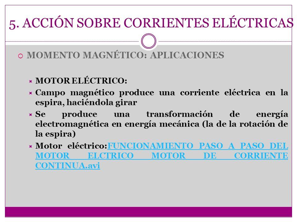 5. ACCIÓN SOBRE CORRIENTES ELÉCTRICAS MOMENTO MAGNÉTICO: APLICACIONES MOTOR ELÉCTRICO: Campo magnético produce una corriente eléctrica en la espira, h