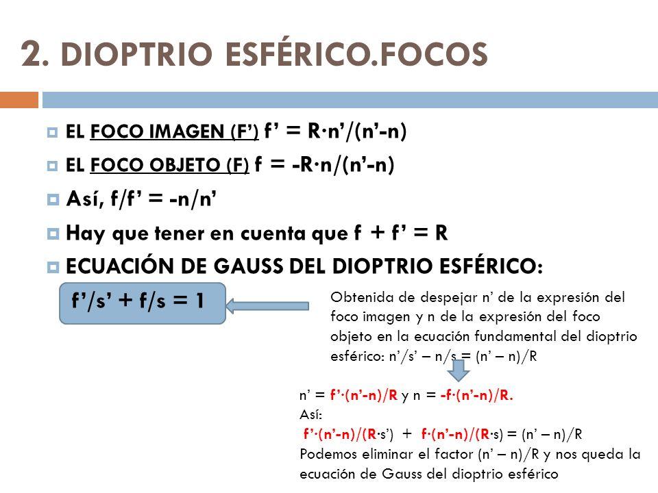 2. DIOPTRIO ESFÉRICO.FOCOS EL FOCO IMAGEN (F) f = R·n/(n-n) EL FOCO OBJETO (F) f = -R·n/(n-n) Así, f/f = -n/n Hay que tener en cuenta que f + f = R EC