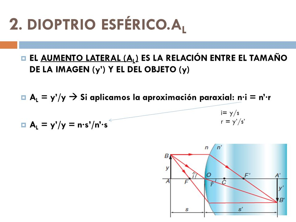 2. DIOPTRIO ESFÉRICO.A L EL AUMENTO LATERAL (A L ) ES LA RELACIÓN ENTRE EL TAMAÑO DE LA IMAGEN (y) Y EL DEL OBJETO (y) A L = y/y Si aplicamos la aprox
