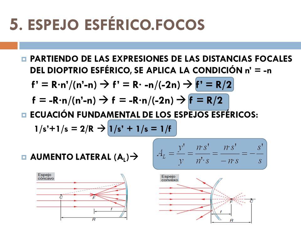 5. ESPEJO ESFÉRICO.FOCOS PARTIENDO DE LAS EXPRESIONES DE LAS DISTANCIAS FOCALES DEL DIOPTRIO ESFÉRICO, SE APLICA LA CONDICIÓN n = -n f = R·n/(n-n) f =