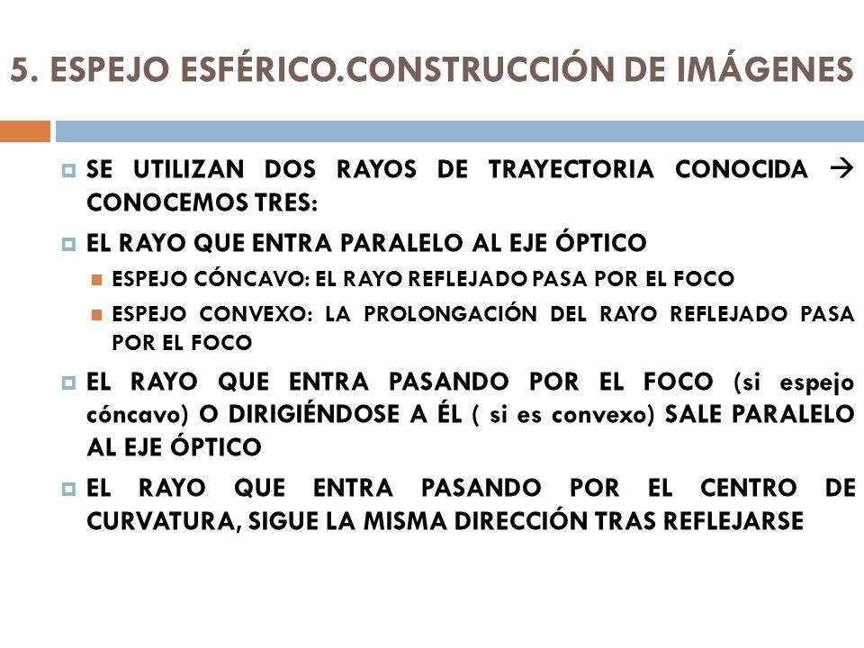 5. ESPEJO ESFÉRICO.CONSTRUCCIÓN DE IMÁGENES SE UTILIZAN DOS RAYOS DE TRAYECTORIA CONOCIDA CONOCEMOS TRES: EL RAYO QUE ENTRA PARALELO AL EJE ÓPTICO ESP