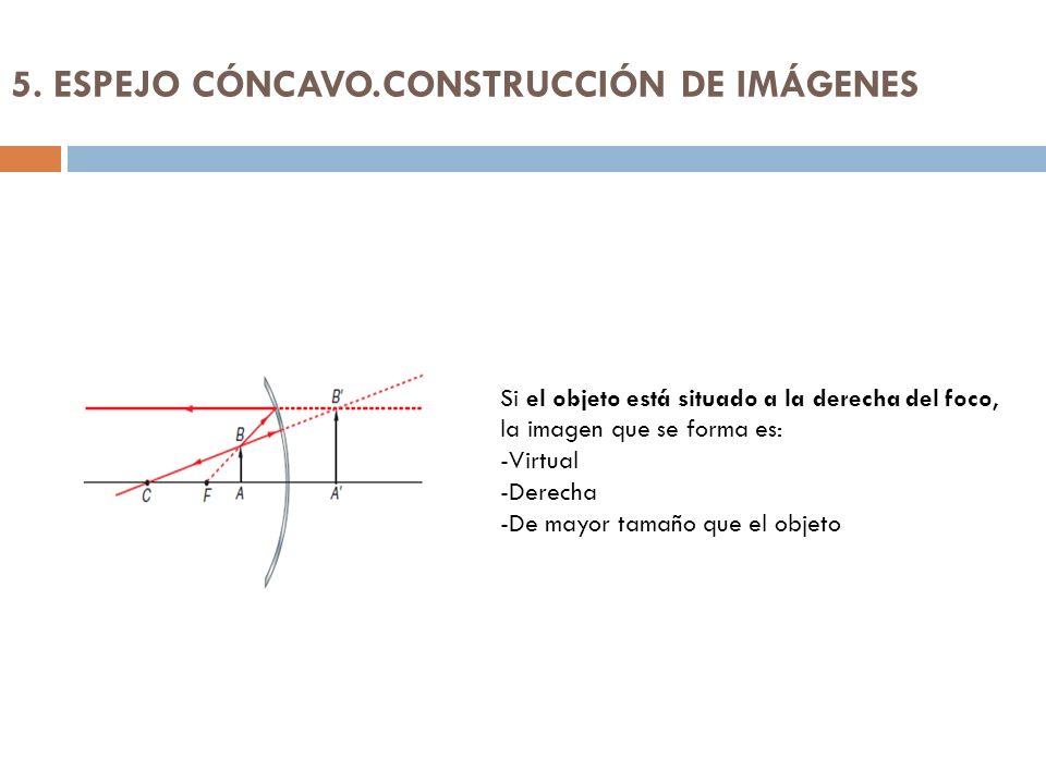 5. ESPEJO CÓNCAVO.CONSTRUCCIÓN DE IMÁGENES Si el objeto está situado a la derecha del foco, la imagen que se forma es: -Virtual -Derecha -De mayor tam