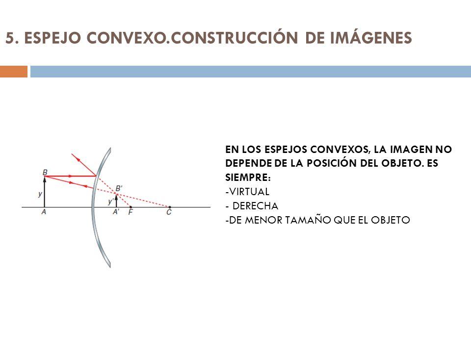 5. ESPEJO CONVEXO.CONSTRUCCIÓN DE IMÁGENES EN LOS ESPEJOS CONVEXOS, LA IMAGEN NO DEPENDE DE LA POSICIÓN DEL OBJETO. ES SIEMPRE: -VIRTUAL - DERECHA -DE