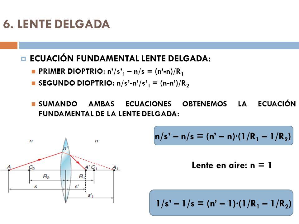 6. LENTE DELGADA ECUACIÓN FUNDAMENTAL LENTE DELGADA: PRIMER DIOPTRIO: n/s 1 – n/s = (n-n)/R 1 SEGUNDO DIOPTRIO: n/s-n/s 1 = (n-n)/R 2 SUMANDO AMBAS EC