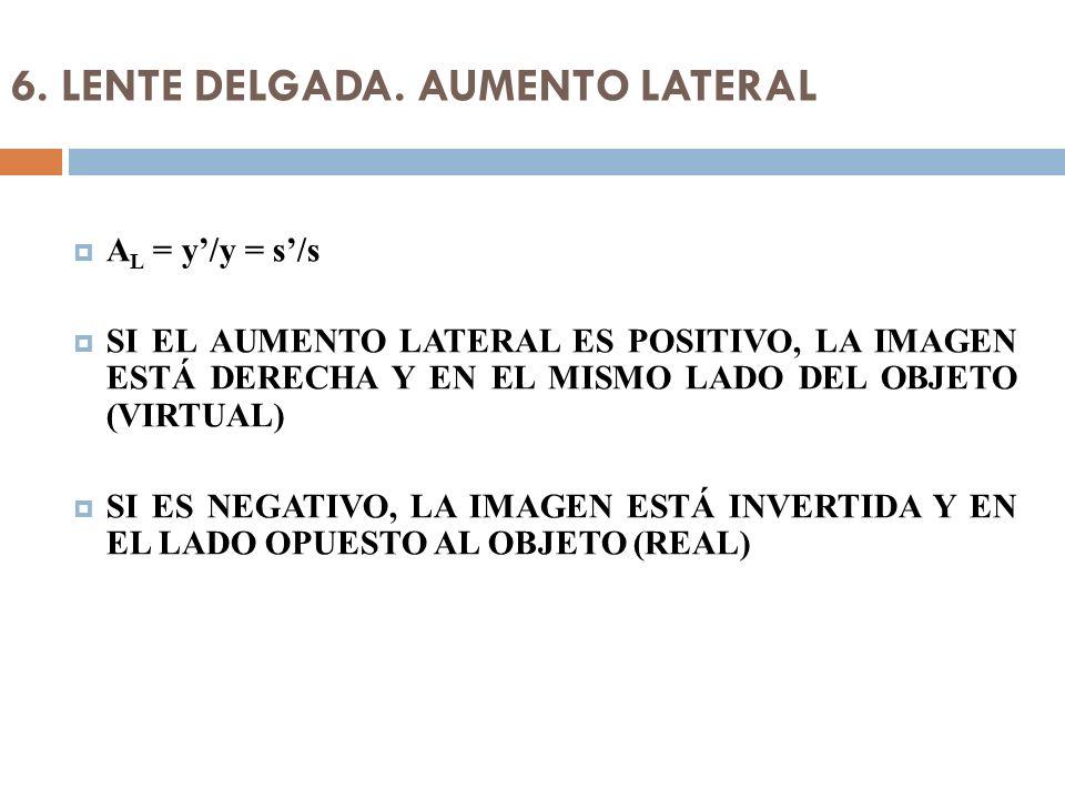 6. LENTE DELGADA. AUMENTO LATERAL A L = y/y = s/s SI EL AUMENTO LATERAL ES POSITIVO, LA IMAGEN ESTÁ DERECHA Y EN EL MISMO LADO DEL OBJETO (VIRTUAL) SI