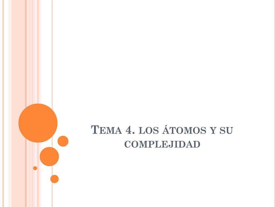 T EMA 4. LOS ÁTOMOS Y SU COMPLEJIDAD