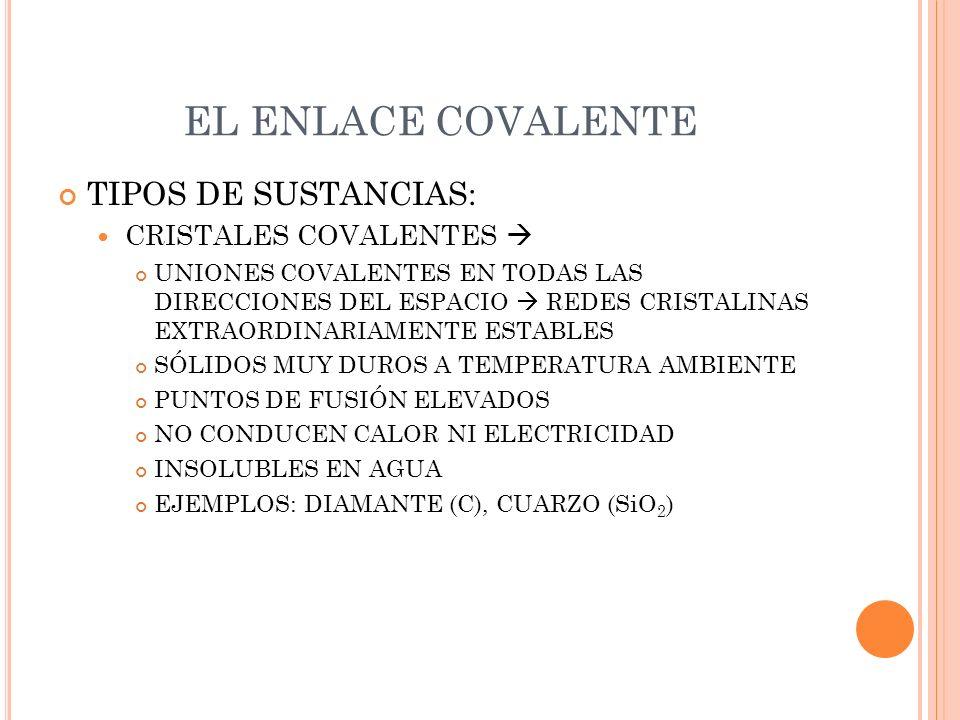 EL ENLACE COVALENTE TIPOS DE SUSTANCIAS: CRISTALES COVALENTES UNIONES COVALENTES EN TODAS LAS DIRECCIONES DEL ESPACIO REDES CRISTALINAS EXTRAORDINARIA