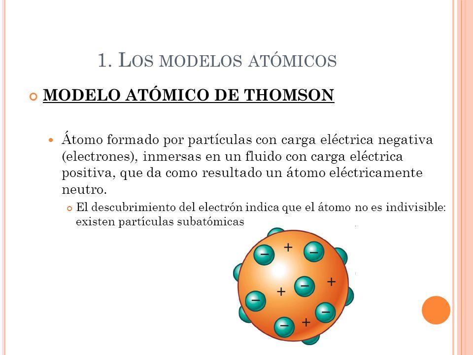1. L OS MODELOS ATÓMICOS MODELO ATÓMICO DE THOMSON Átomo formado por partículas con carga eléctrica negativa (electrones), inmersas en un fluido con c