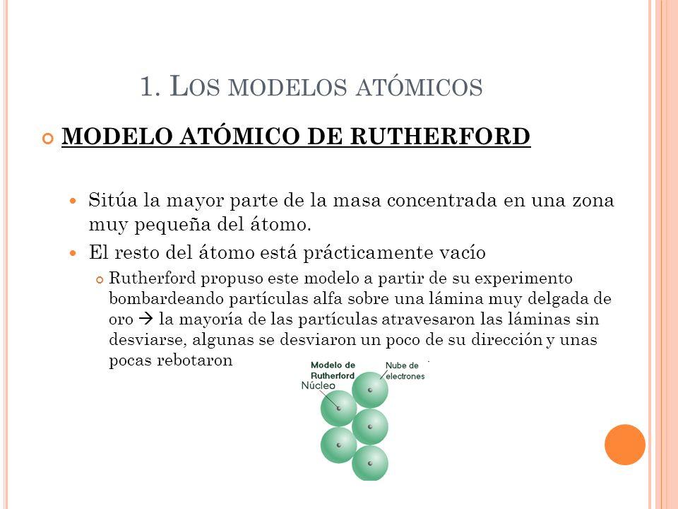 1. L OS MODELOS ATÓMICOS MODELO ATÓMICO DE RUTHERFORD Sitúa la mayor parte de la masa concentrada en una zona muy pequeña del átomo. El resto del átom