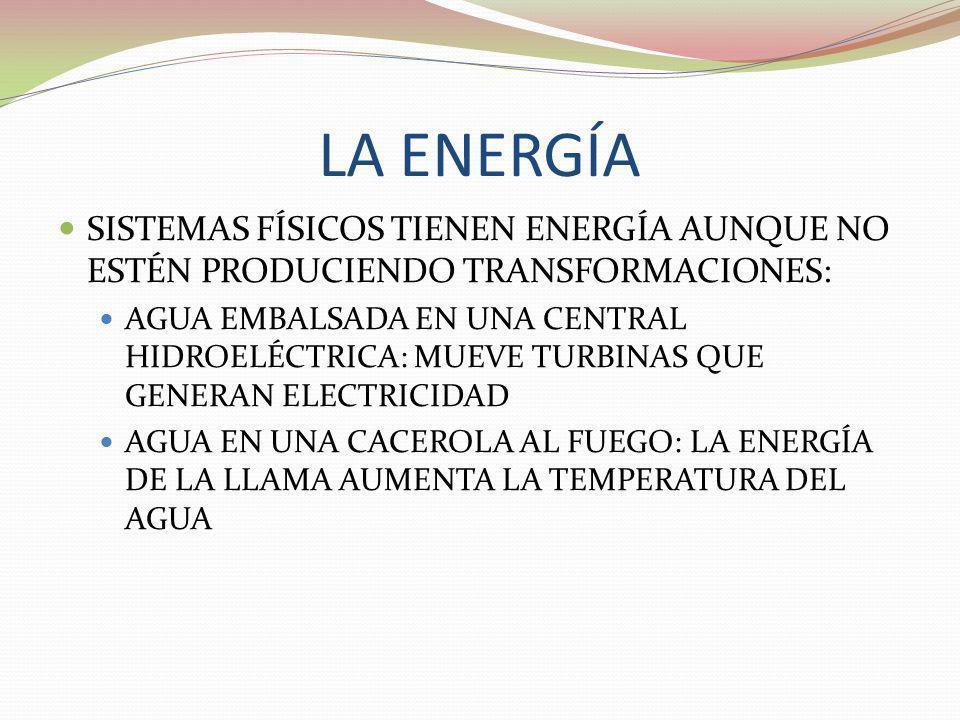 LA ENERGÍA SISTEMAS FÍSICOS TIENEN ENERGÍA AUNQUE NO ESTÉN PRODUCIENDO TRANSFORMACIONES: AGUA EMBALSADA EN UNA CENTRAL HIDROELÉCTRICA: MUEVE TURBINAS
