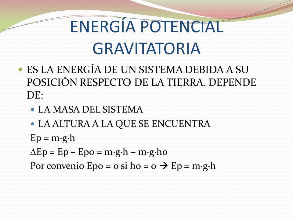 ENERGÍA POTENCIAL GRAVITATORIA ES LA ENERGÍA DE UN SISTEMA DEBIDA A SU POSICIÓN RESPECTO DE LA TIERRA. DEPENDE DE: LA MASA DEL SISTEMA LA ALTURA A LA