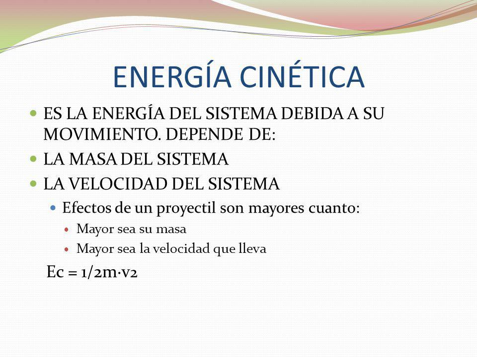 ENERGÍA CINÉTICA ES LA ENERGÍA DEL SISTEMA DEBIDA A SU MOVIMIENTO. DEPENDE DE: LA MASA DEL SISTEMA LA VELOCIDAD DEL SISTEMA Efectos de un proyectil so