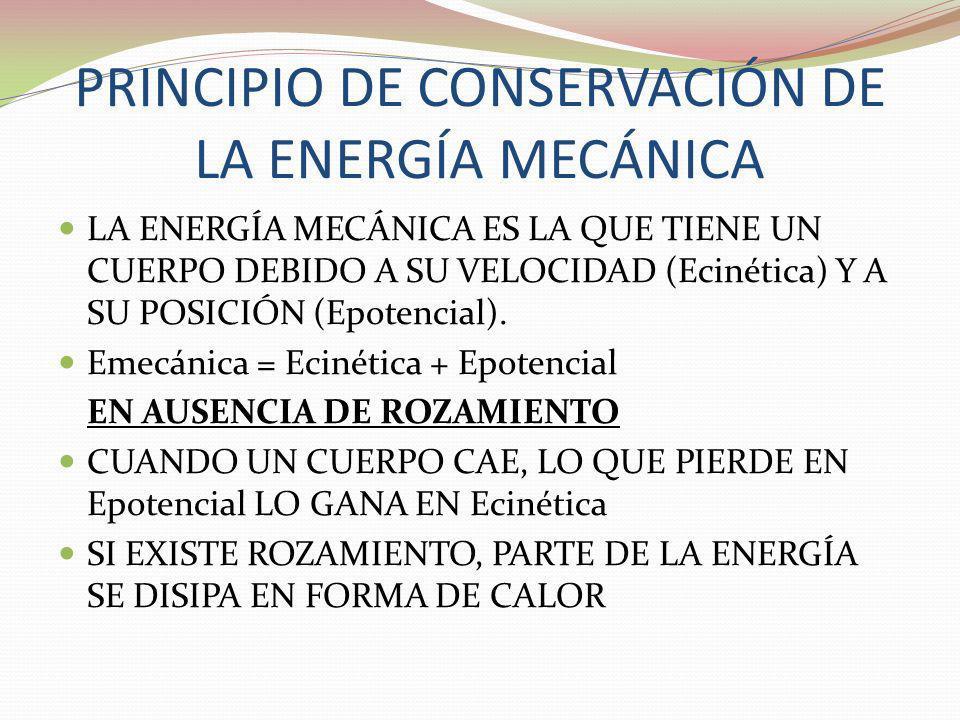 PRINCIPIO DE CONSERVACIÓN DE LA ENERGÍA MECÁNICA LA ENERGÍA MECÁNICA ES LA QUE TIENE UN CUERPO DEBIDO A SU VELOCIDAD (Ecinética) Y A SU POSICIÓN (Epot
