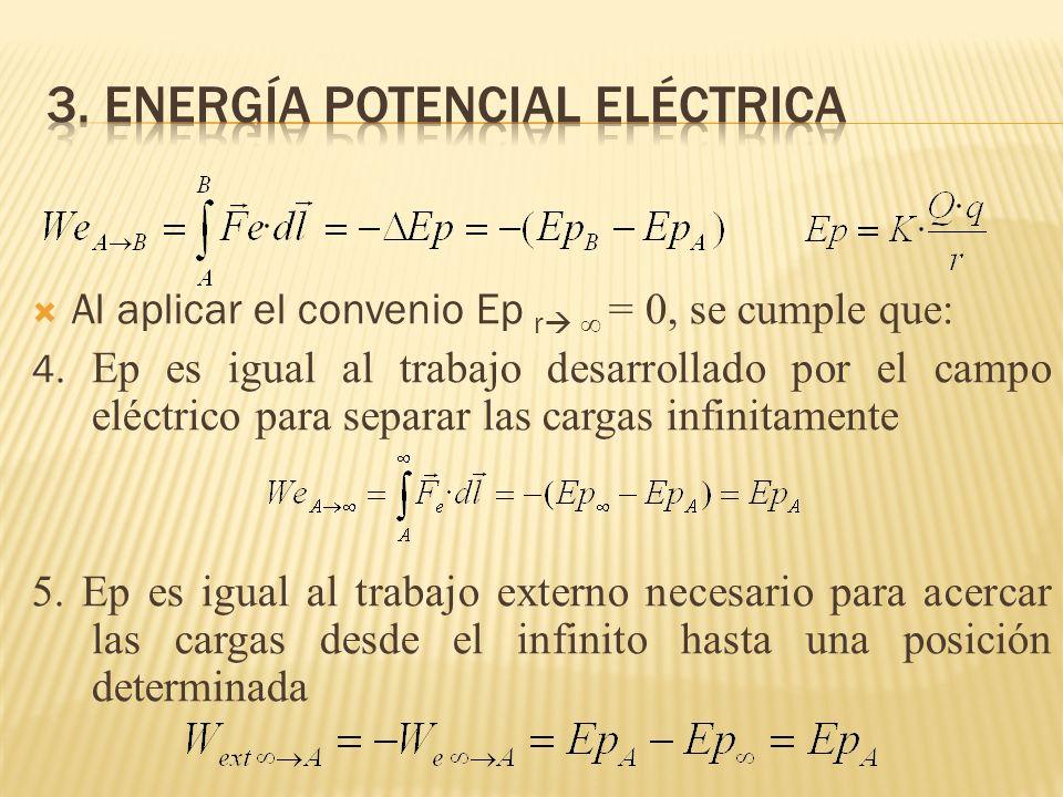 Al aplicar el convenio Ep r = 0, se cumple que: 4. Ep es igual al trabajo desarrollado por el campo eléctrico para separar las cargas infinitamente 5.
