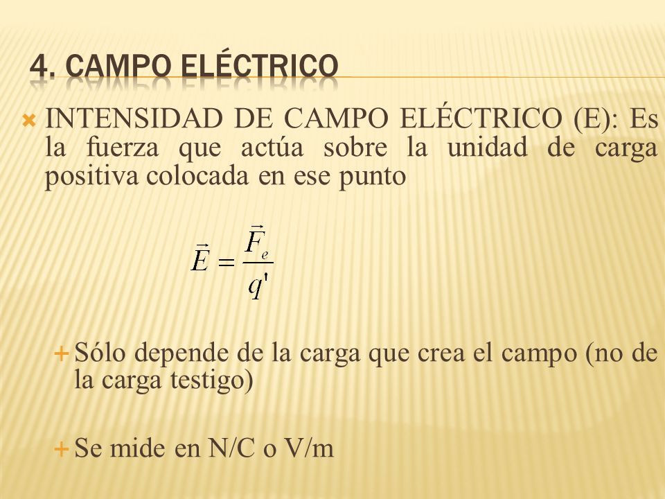 INTENSIDAD DE CAMPO ELÉCTRICO (E): Es la fuerza que actúa sobre la unidad de carga positiva colocada en ese punto Sólo depende de la carga que crea el