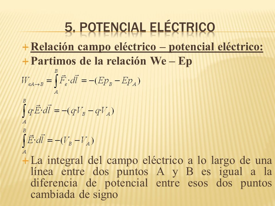 Relación campo eléctrico – potencial eléctrico: Partimos de la relación We – Ep La integral del campo eléctrico a lo largo de una línea entre dos punt
