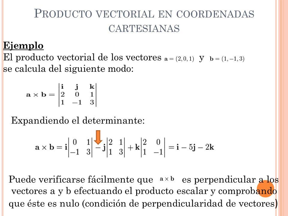 Ejemplo El producto vectorial de los vectores y se calcula del siguiente modo: Expandiendo el determinante: Puede verificarse fácilmente que es perpen