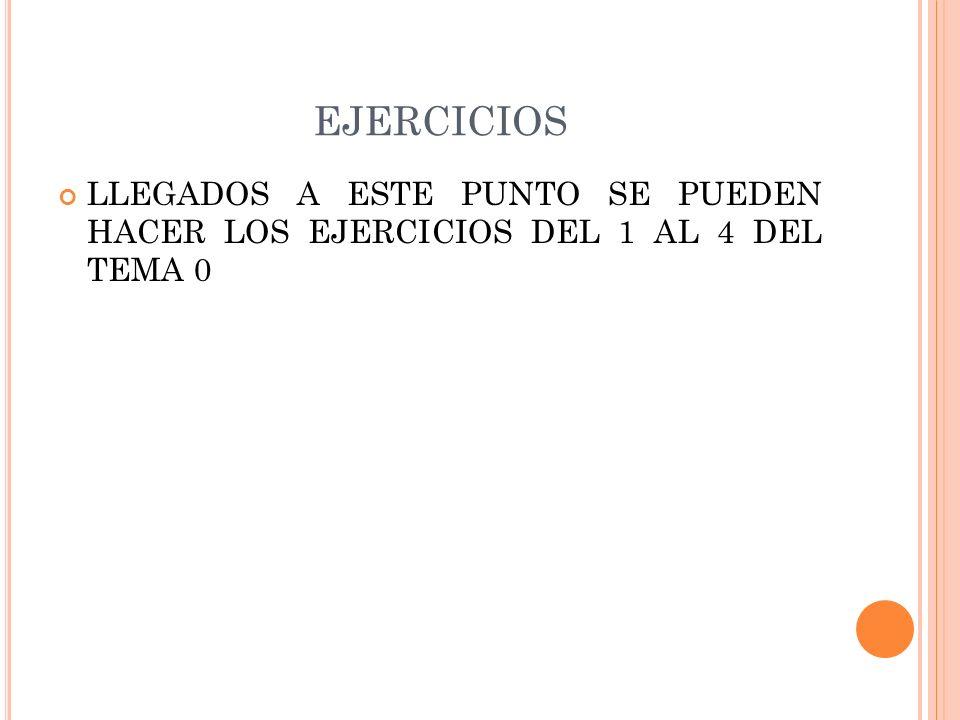 EJERCICIOS LLEGADOS A ESTE PUNTO SE PUEDEN HACER LOS EJERCICIOS DEL 1 AL 4 DEL TEMA 0
