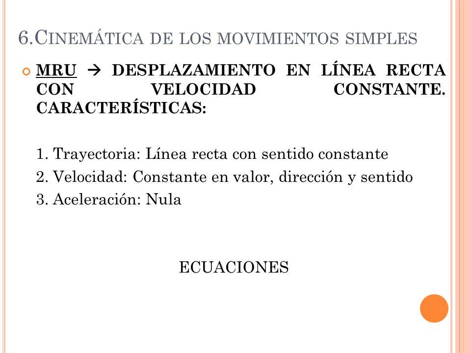 6.C INEMÁTICA DE LOS MOVIMIENTOS SIMPLES MRU DESPLAZAMIENTO EN LÍNEA RECTA CON VELOCIDAD CONSTANTE. CARACTERÍSTICAS: 1. Trayectoria: Línea recta con s